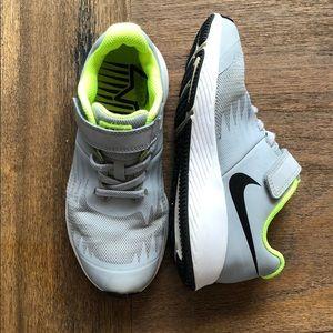 Gray & Neon Yellow Velcro Nike Shoe